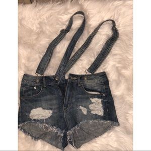 Medium Denim High Waisted Suspender Overall Shorts